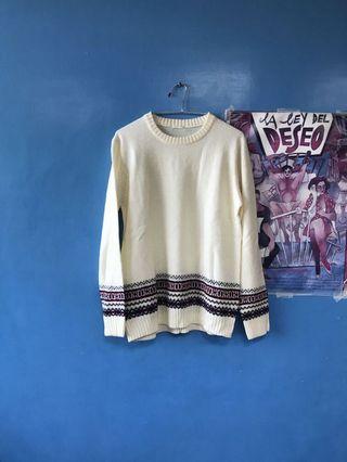 👦🏻👩🏻GU 北歐風毛衣 針織衫 民族風 米白色 M Uniqlo