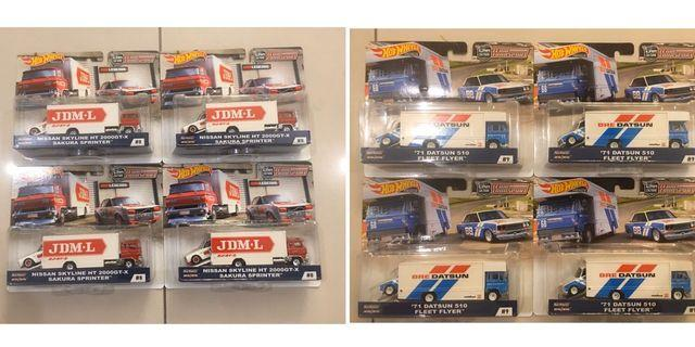 Hot Wheels Team Transport Lot of 2 - '71 Datsun 510 Fleet Flyer + Nissan Skyline HT 2000GT-X Sakura Sprinter