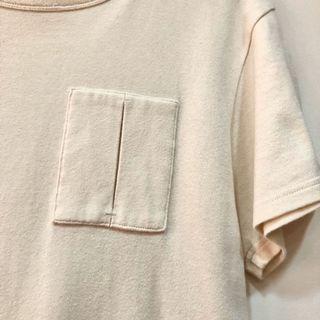 米白色 造型口袋 短袖