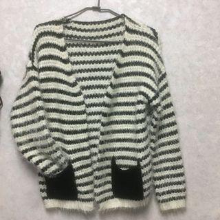 針織條紋毛衣外套