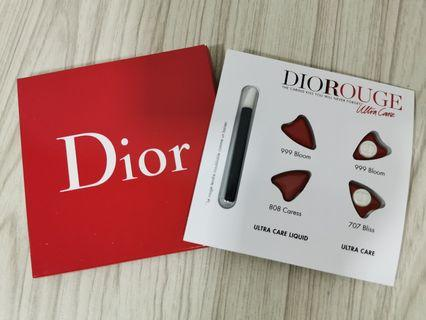 DIOR ROUGE ULTRA CARE 4 COLORS LIP CARD with lip brush