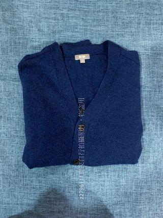 UNIQLO 羊毛 V領開襟外套/素面針織衫 藍色 尺寸M