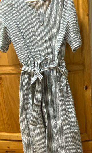 近全新 條紋 氣質 洋裝 日系 優雅