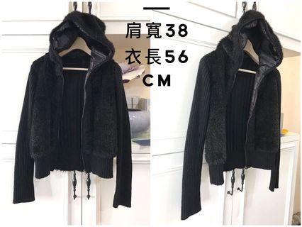 NET 黑色有帽拉鍊針織毛毛中短版帥氣外套 M號 ❤️二手❤️購於NET專櫃