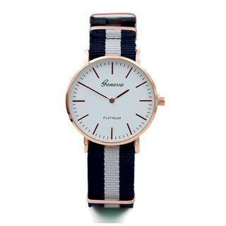 Geneva手錶 | 情侶對錶 | 無秒針手錶 | 藍白色手錶 | 爆款日內瓦條紋帆布尼龍表時尚超薄個性金色兩針男女士情侶手錶