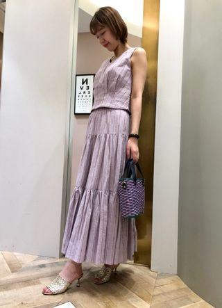 [全新 免運]專櫃正品 Lily Brown 粉紫條紋金線蛋糕長裙