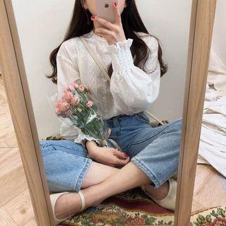 韓系氣質蕾絲刺繡花邊長袖白色襯衫上衣🌹