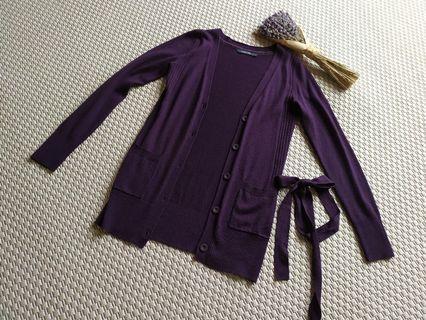 Hang Ten 深紫羊毛針織外套 #毛衣(附腰帶 ) 有實穿照