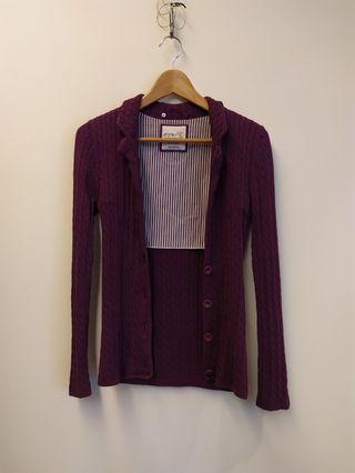 Esprit 純綿麻花針織外套(浪漫紫) 有實穿照