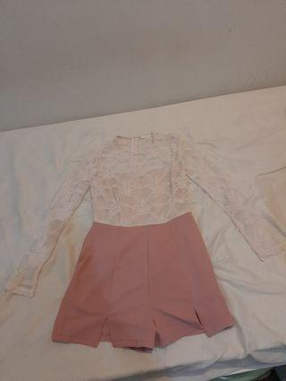 MDS Light Pink Lace Romper