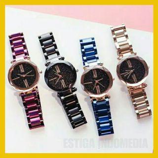 Jam Tangan Wanita Tali stainless steel Rantai Crystal Premium JT12