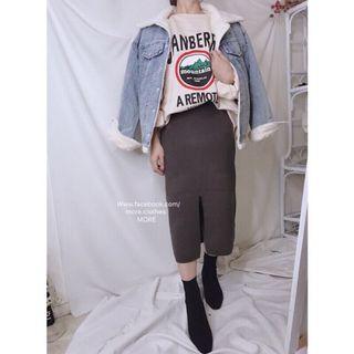 現貨 全新轉賣韓版-5kg顯瘦開衩不顯臀針織窄裙 灰