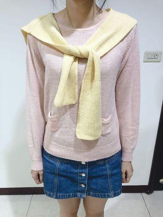 粉色披肩針織上衣