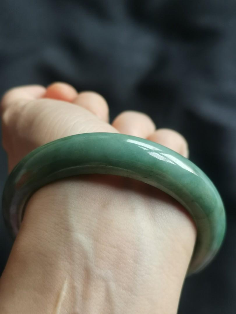 56mm type A jadeite bangle (糥种蓝水飘蓝花)