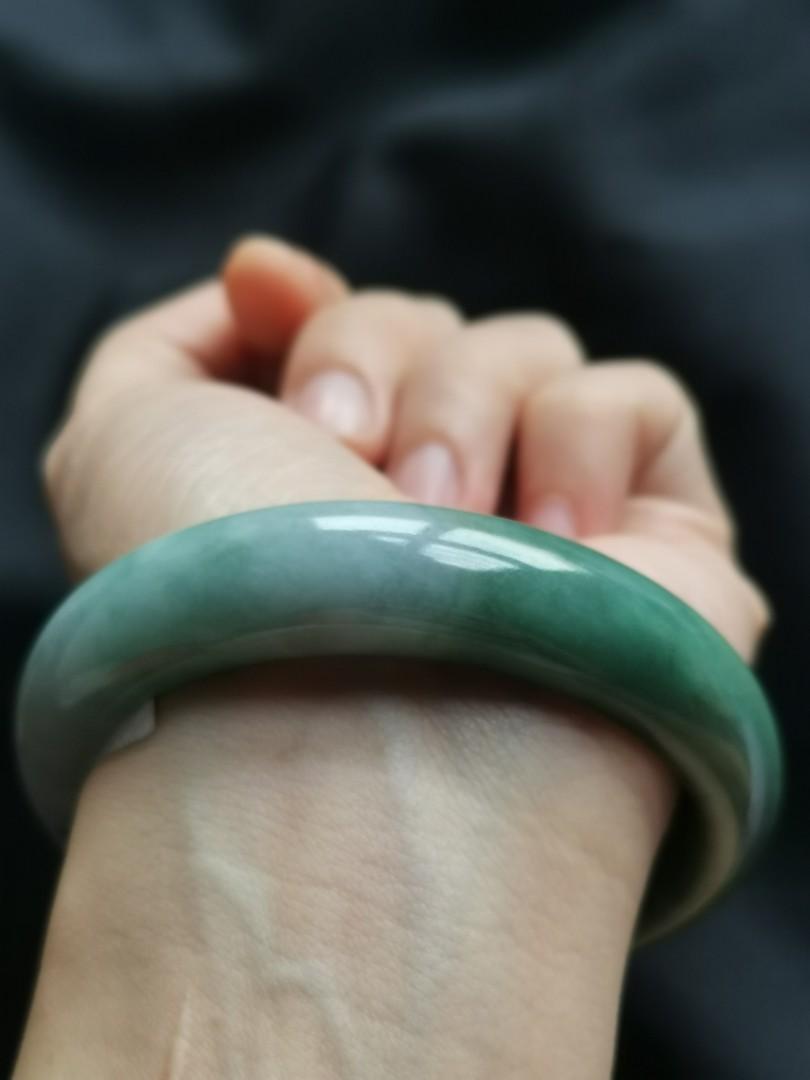 58mm type A jadeite bangle (糥种蓝水飘蓝花)