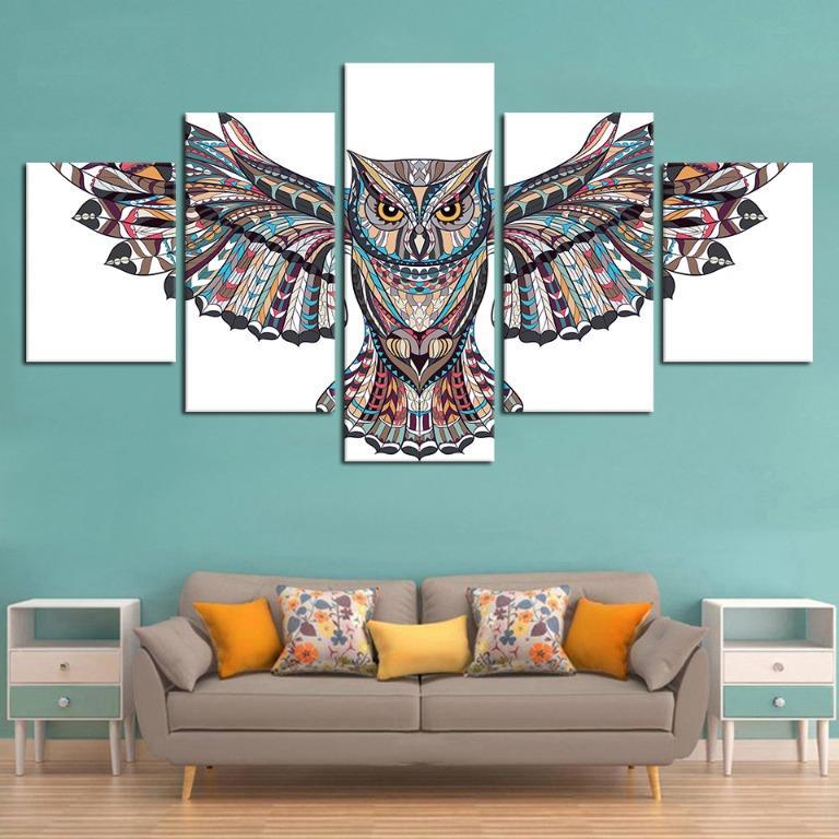 5 Panel Native Indian Owl Canvas Art😊