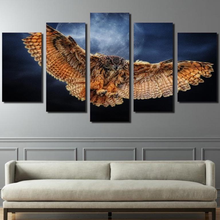 5 Panel Night Owl Canvas Prints😊