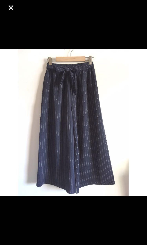 質感深藍綁帶鬆緊帶直紋九分寬褲