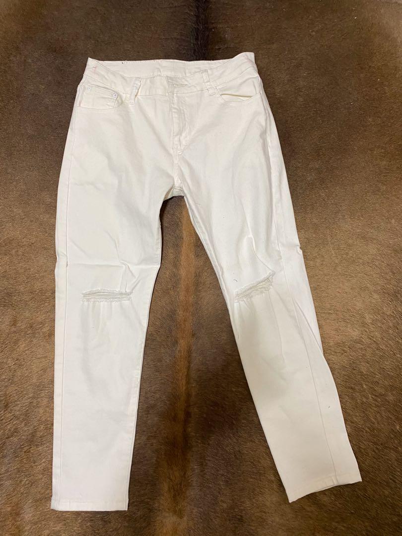 白色直筒長褲