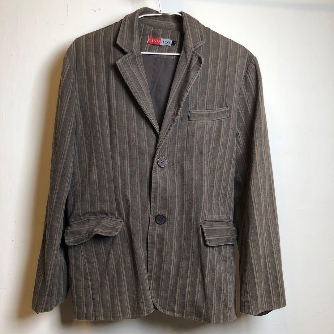 條紋休閒西裝外套