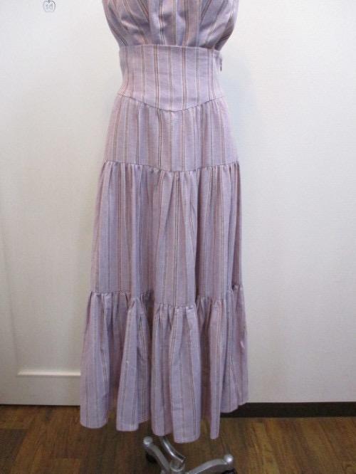 [全新|免運]專櫃正品 Lily Brown 粉紫條紋金線蛋糕長裙