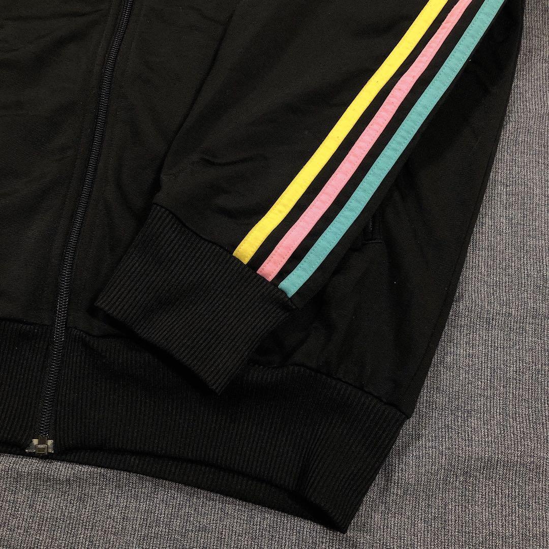 Adidas Originals 古著三色條黑色運動外套(XL)