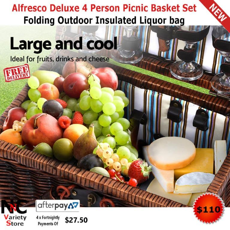 Alfresco Deluxe 4 Person Picnic Basket Set Folding Outdoor Insulated Liquor bag