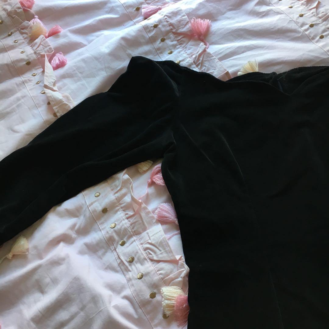 Amazing vintage black velvet dress