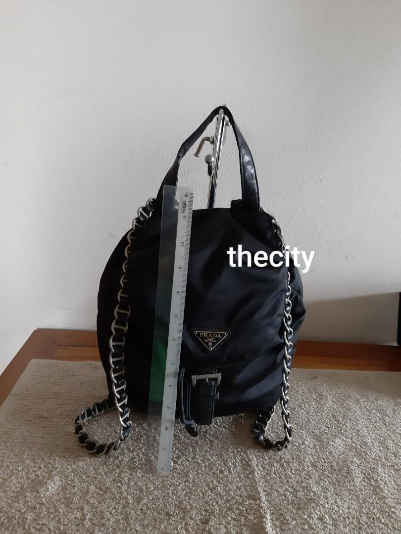 AUTHENTIC PRADA CHAIN SHOULDER STRAP NYLON CANVAS BACKPACK - BLACK - RARE CHAIN STRAP DESIGN , EXTREMELY HARD TO SOURCE IN RESALE MARKET- (PRADA BACKPACKS NOW RETAIL AROUND RM 6000+)