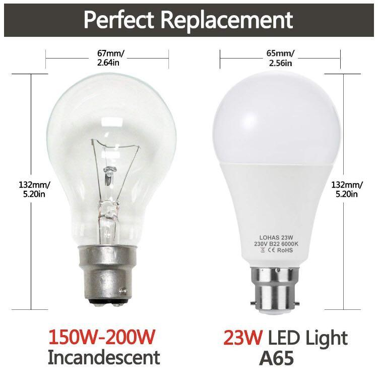 (B0052)-4 Pack A65 B22 23W LED Lights, 6000K, Non-Dimmable