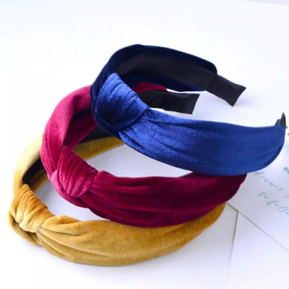 Bandana Lebar Bahan Velvet Warna Polos Eksotis untuk Wanita //POPULER/FASHION/Premium