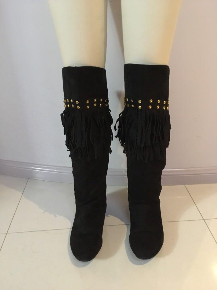 Black Fringe Knee High Boots