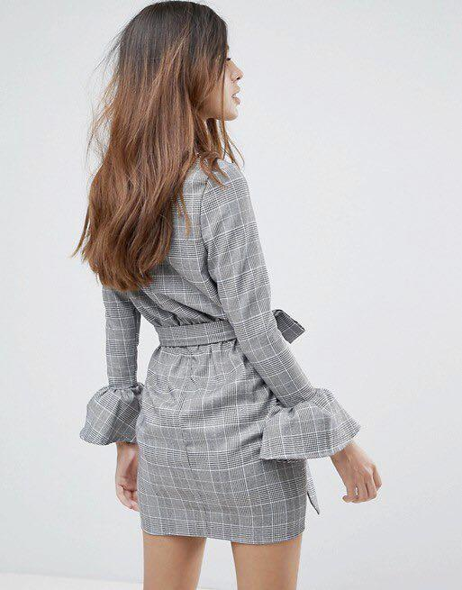 BNWT ASOS Parisian check dress with flare sleeve and tie waist
