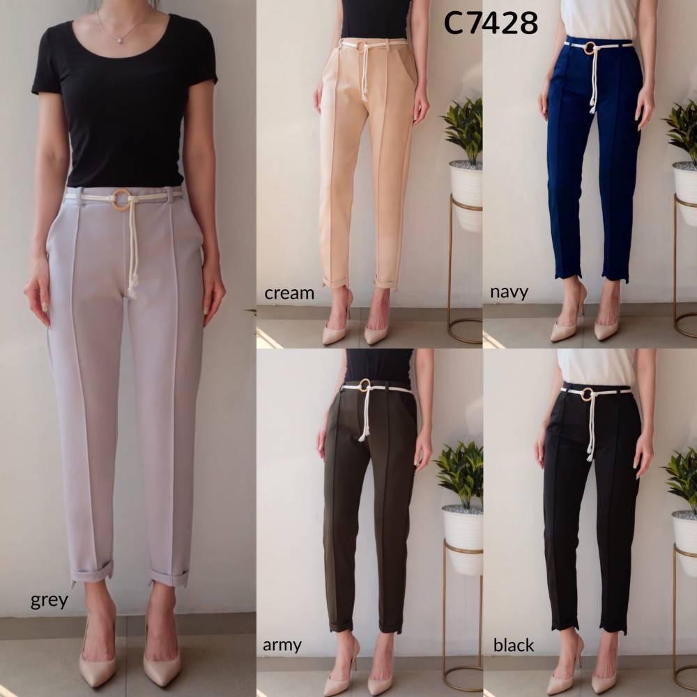 C7428 Celana panjang wanita celana bahan wanita celana scuba polos celana kerja wanita celana panjang polos celana kekinian celana belt celana korea