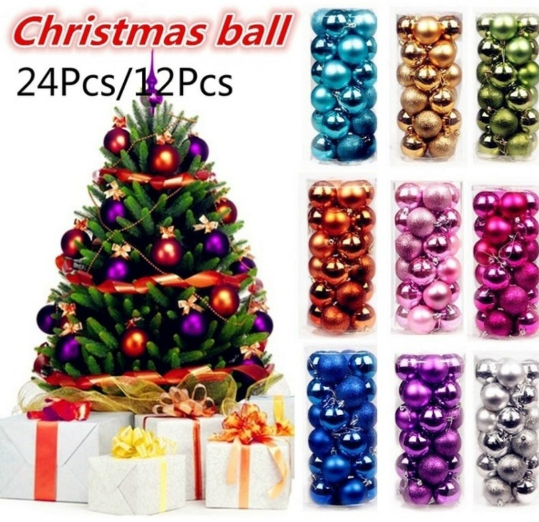 Christmas Ball Tree Decoration 24 Or 12pc Set, 12 Colors to choose from