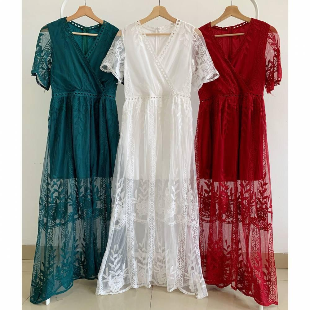 D6863 Holly Maxi Lace Dress Luxury  dress panjang import dress bordir import dress brukat imlort long dress import dress pantai dress kimono dress prewedding dress photoahoot