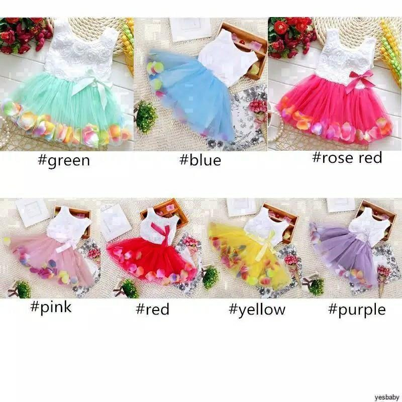 Dress Anak Girls Party Lace Bow Floral Printed Princess Tulle Tutu Dress