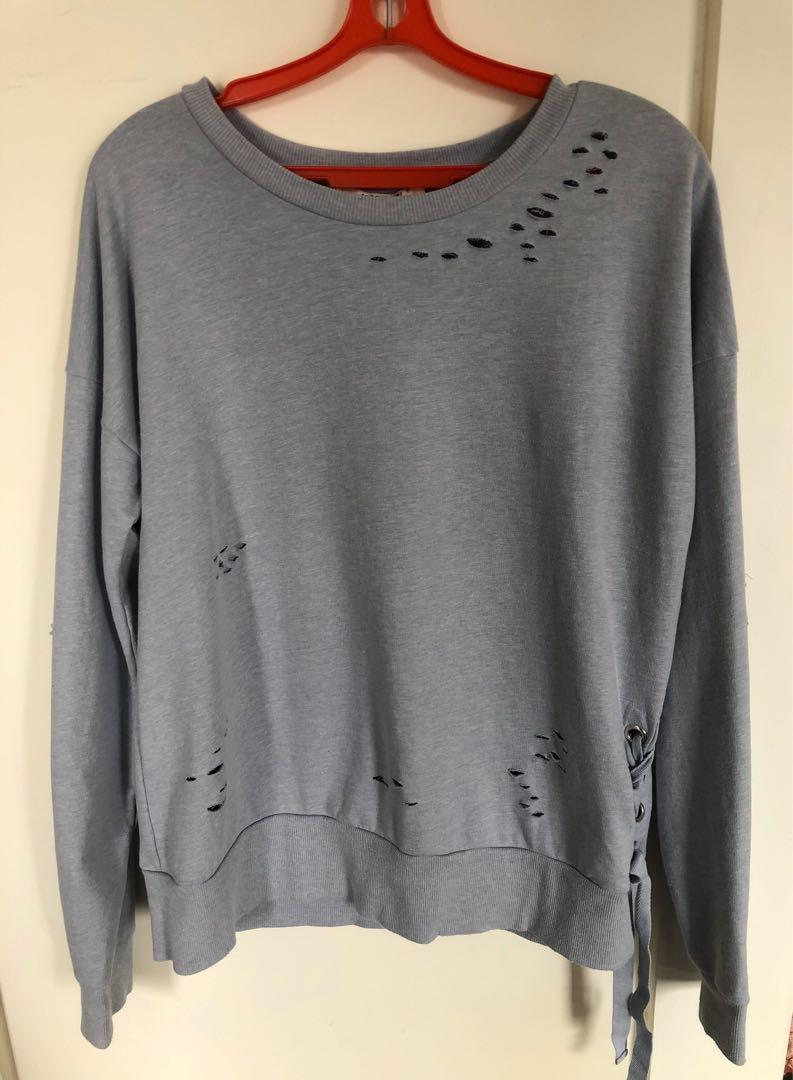 Forever 21 Trendy Crew Neck Sweater Lightly Distressed with Lace-Up Detail on Side in Pale Blue - Size S