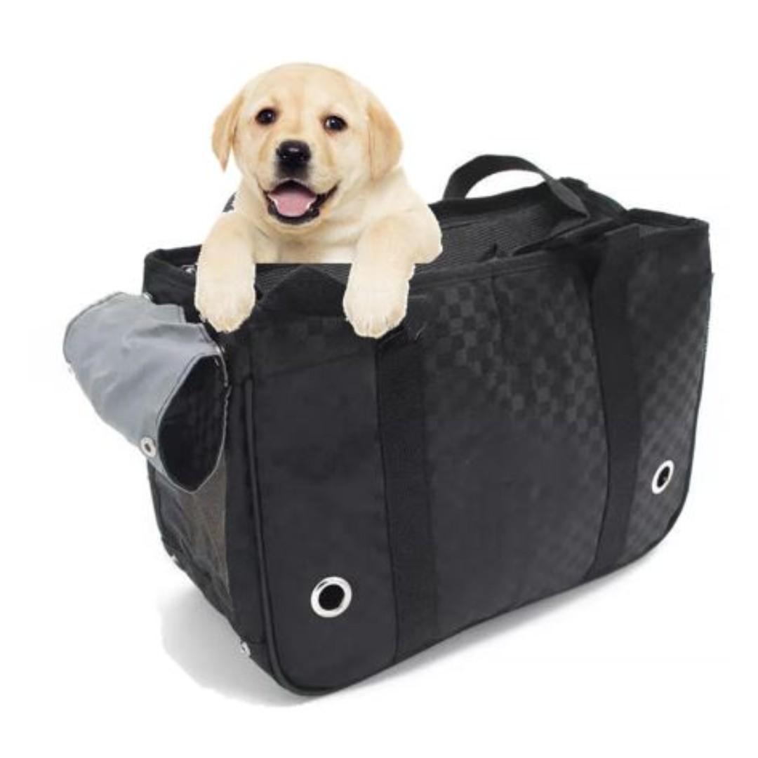 [FREE DELIVERY/NEW]Pet Rectangular Sling Bag Carrier with Side Pocket (Black Box Design)