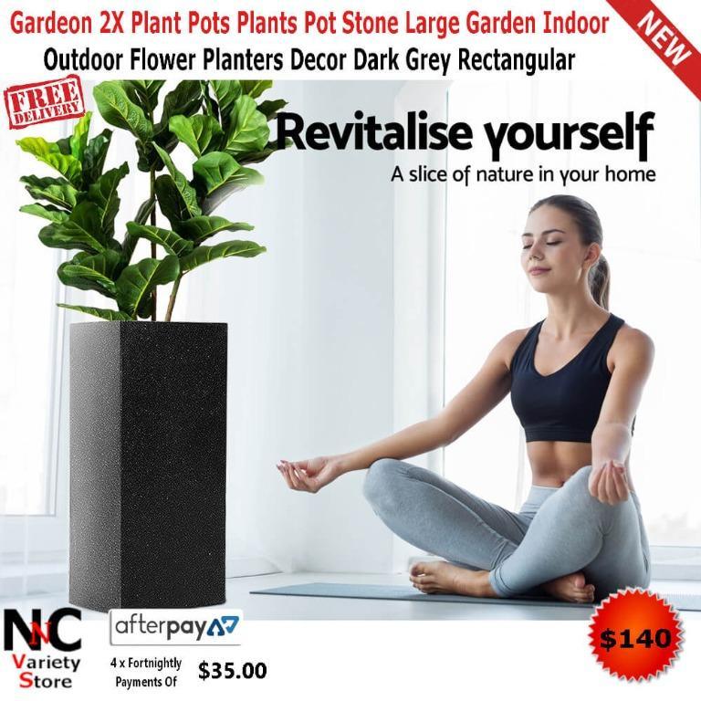 Gardeon 2X Plant Pots Plants Pot Stone Large Garden Indoor Outdoor Flower Planters Decor Dark Grey Rectangular