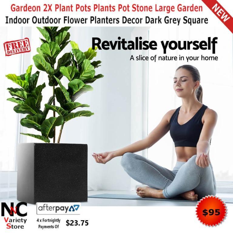 Gardeon 2X Plant Pots Plants Pot Stone Large Garden Indoor Outdoor Flower Planters Decor Dark Grey Square