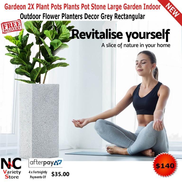Gardeon 2X Plant Pots Plants Pot Stone Large Garden Indoor Outdoor Flower Planters Decor Grey Rectangular