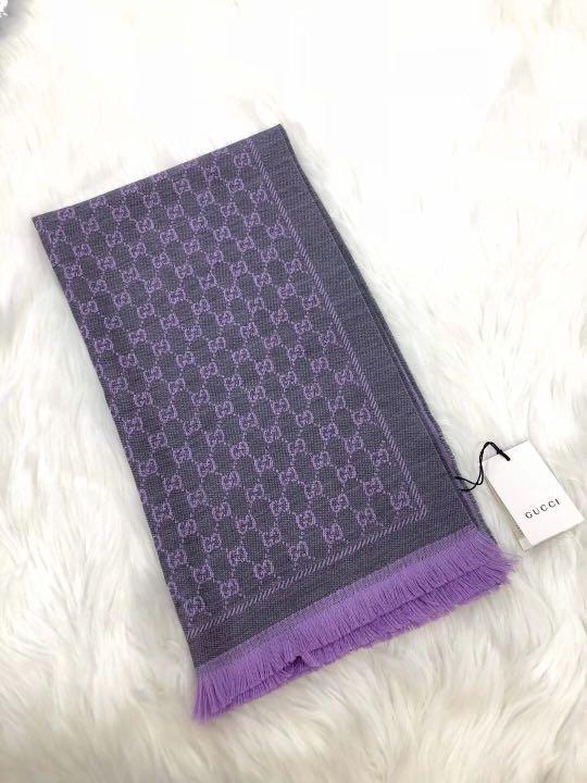 Gucci 灰紫羊毛圍巾 scarf shawl size 48CM ×180cm 靚價$1780