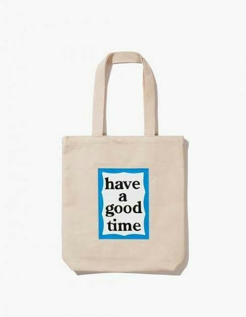 Have A Good Time blue frame tote bag natural