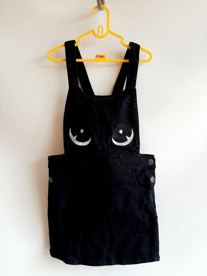 H&M Overall Skirt Black Cat size 4t