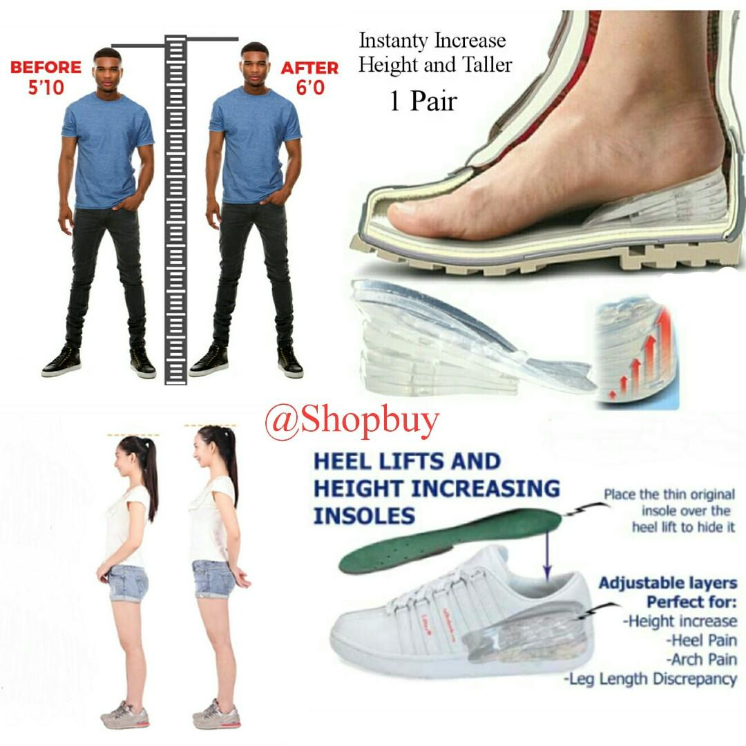Instant Increase Height 5-Layers Adjustable Insert Shoes Taller Silicone Insole Gel Pad