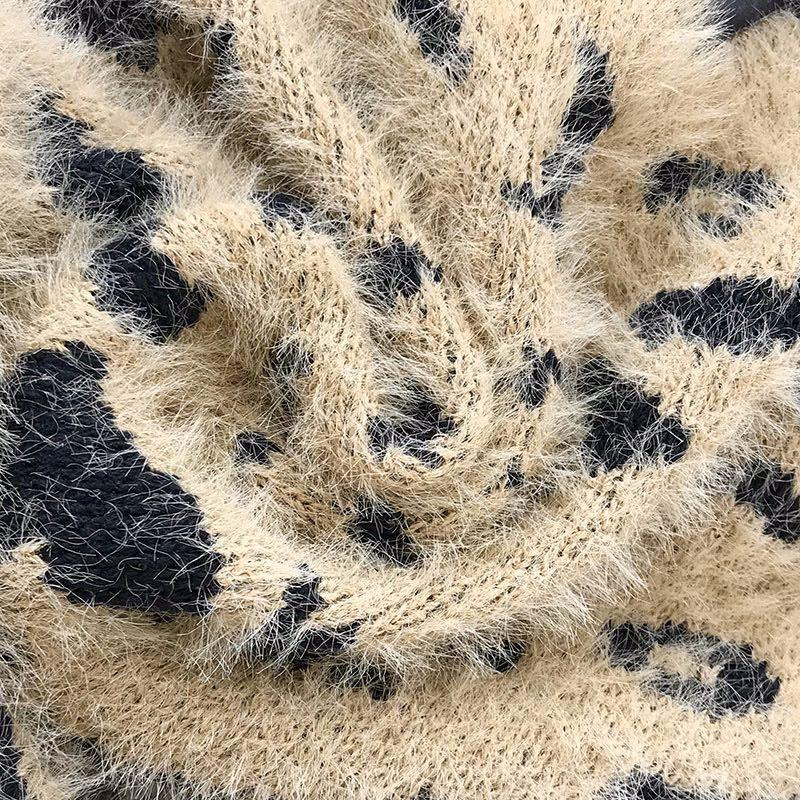 Korean style oversized fluffy leopard print sweater