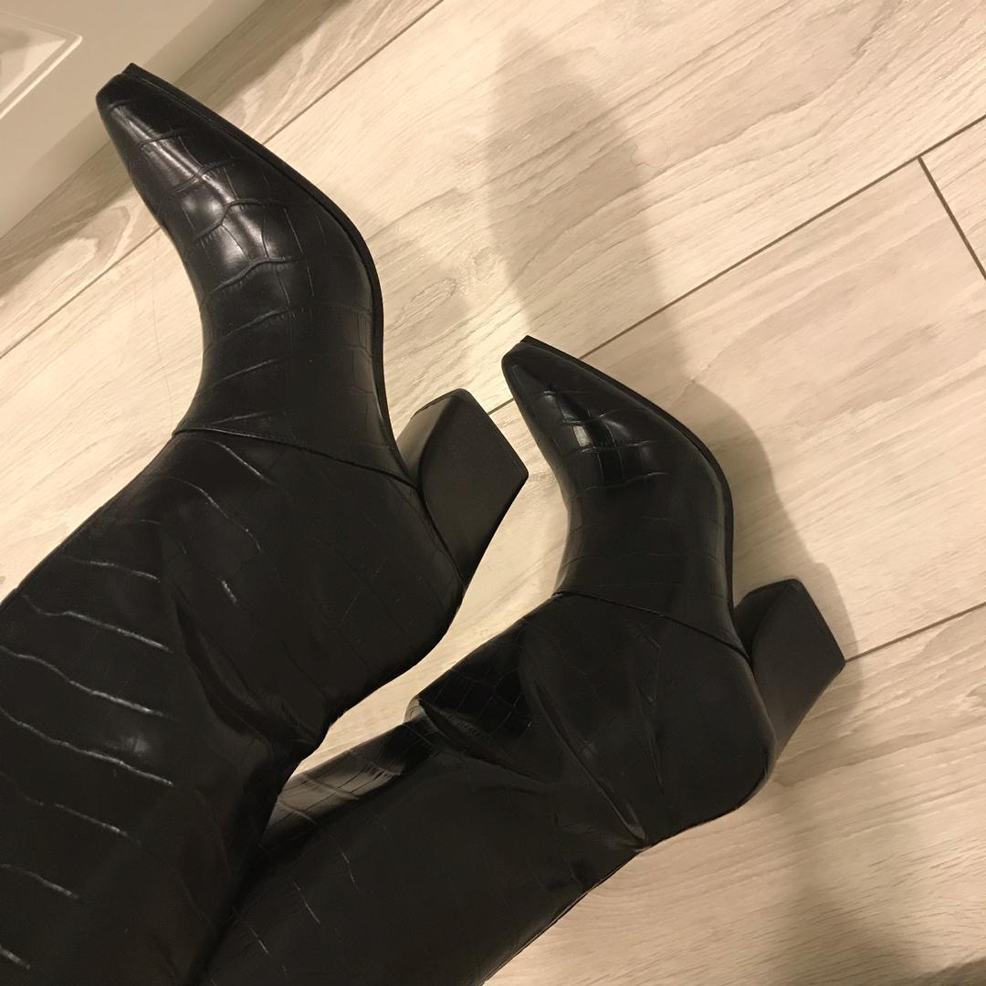 全新mango黑色鱷魚紋西部牛仔長靴靴子zara Amissa miyuki dazzlingdazzlin