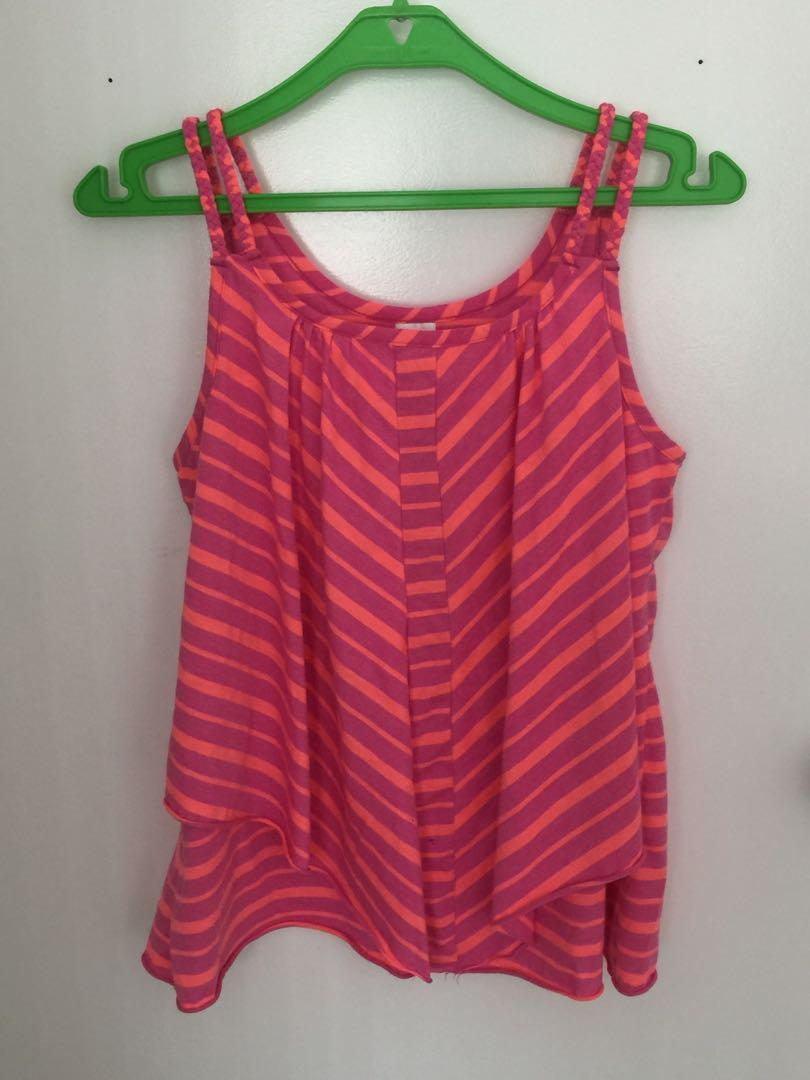 Neon pleated chevron top