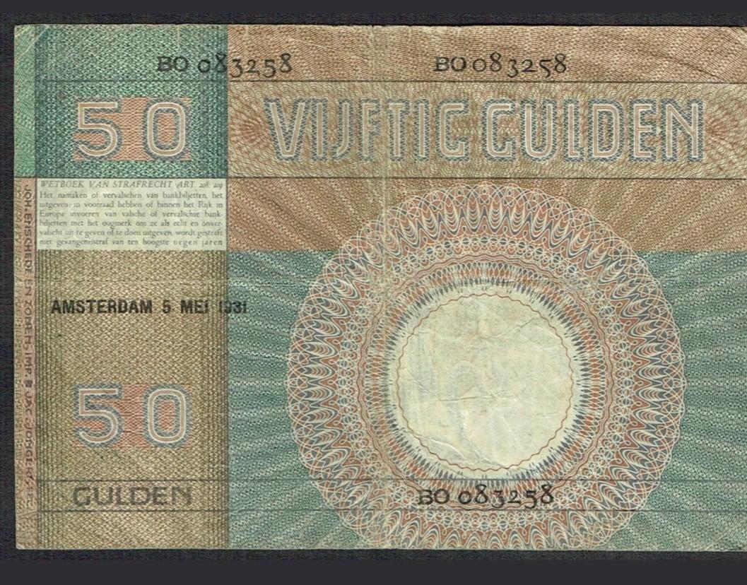 NETHERLANDS 50 Gulden 1931 Minerva